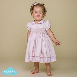 Vestido Bordado Bebê Luxo 400 Fios Rosa