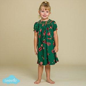 Vestido Bata Bordado Infantil Floral Verde