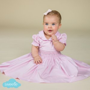 Vestido Bordado Bebê Rosa