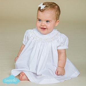 Conjunto Batinha Bordado Bebê Branco Renda
