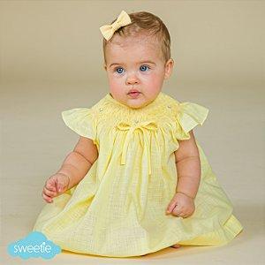 Conjunto Batinha Bordado Bebê Viscolinho Amarelo