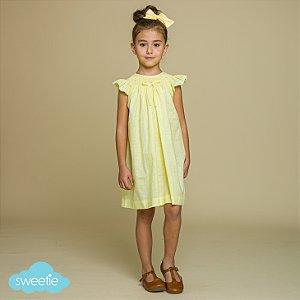 Vestido Bata Bordado Infantil Viscolinho Amarelo