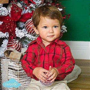 Camisa Body Bebê Xadrez Vermelho
