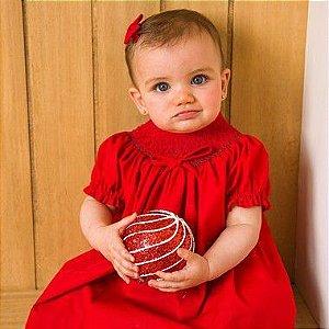 Conjunto Batinha Bordado Bebê Vermelho