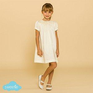 Vestido Bata Bordado Infantil 400 Fios Off White