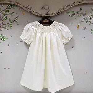 Vestido Bata Bordado Infantil Algodão 400 Fios Off White