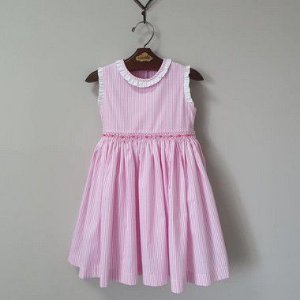 Vestido Bordado Infantil Luca Listrado Rosa