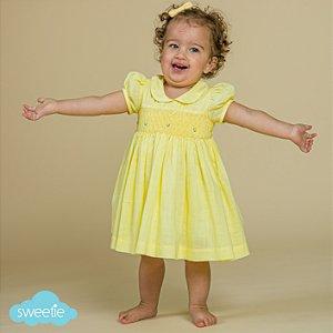 Vestido Bordado Bebê Viscolinho Amarelo