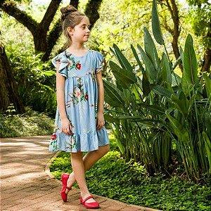 Vestido Infantil Turin Floral Azul