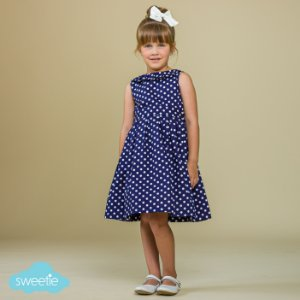 Vestido Infantil Bolas Gola Prega Azul