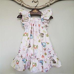 Vestido Bebê Bolonha Bichinhos