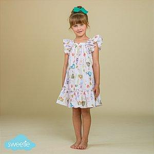 Vestido Infantil Bolonha Bichinhos Páscoa