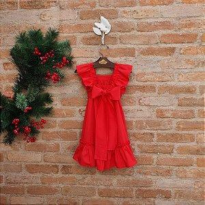 Vestido Bebê Bolonha Vermelho