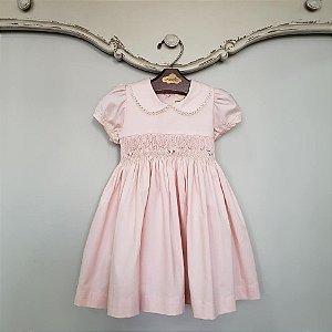 Vestido Bordado Bebê Renda Rosa