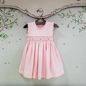 Vestido Bordado Infantil Pipoca Rosa