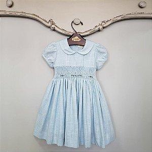 Vestido Bordado Bebê Viscolinho Azul