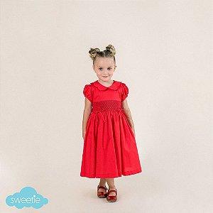 Vestido Bordado Infantil Vermelho 2 Lacinhos