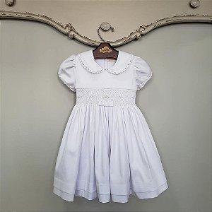Vestido Bordado Infantil Chanel Branco
