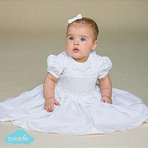 Vestido Bordado Bebê Renda Renascença Branco