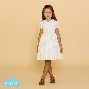 Vestido Bordado Infantil Renda Renascença Branco