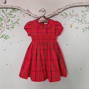 Vestido Bordado Infantil Xadrez