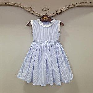 Vestido Bordado Bebê Luca Listra Azul