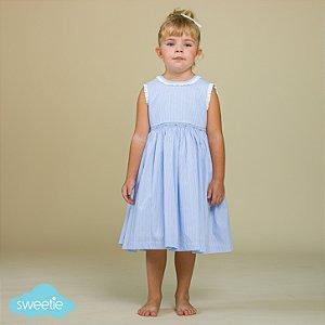 Vestido Bordado Infantil Luca Listra Azul