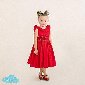 Vestido Bordado Babado Infantil Vermelho