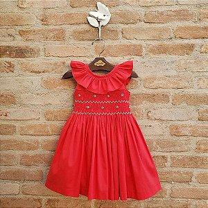 Vestido Bordado Babado Bebê Vermelho