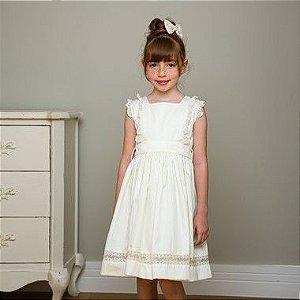 Vestido Bebê e Infantil Renda 400 Fios Off White