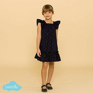 Vestido Infantil Bolonha Âncoras Azul Marinho