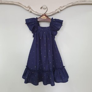 Vestido Bebê Bolonha Âncoras Azul Marinho