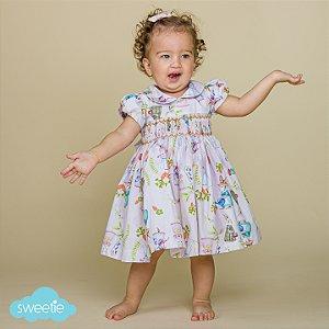 Vestido Bordado Bebê Bichinhos Páscoa