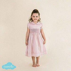 Vestido Bordado Bebê Luxo 400 Fios Rosa DEF