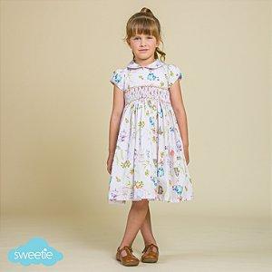 Vestido Bordado Infantil Bichinhos Páscoa