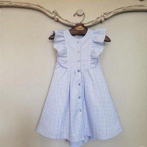 Vestido Bebê Chemise Vichy Azul