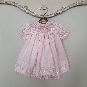 Conjunto Batinha Bordado Bebê Luxo com Renda Rosé