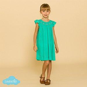 Vestido Bata Bordado Infantil Turquesa