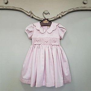 Vestido Bordado algodão egípicio bebê Gola Matame Rosé