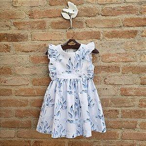 Vestido Bebê Capri Folhagem Azul
