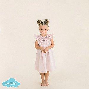 Vestido Bata Bordado Infantil Laço Chanel Rosé
