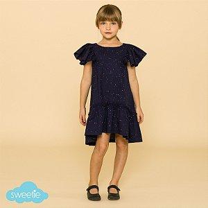 Vestido Infantil Camélia Azul Marinho