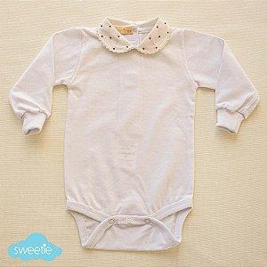 Body Bebê Branco Gola Bolinha Vermelha