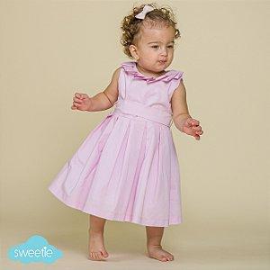Vestido Bebê Gola Prega Rosa