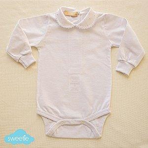 Body Bebê Branco Gola Bolinha Rosa