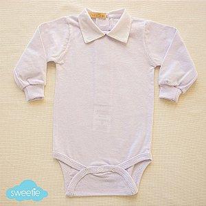Body Bebê Branco Gola Flick Amarela