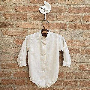 Camisa Body Bebê Gola Padre Off White