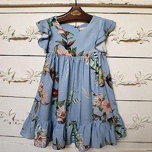 Vestido Infantil Turin Floral Azul Def