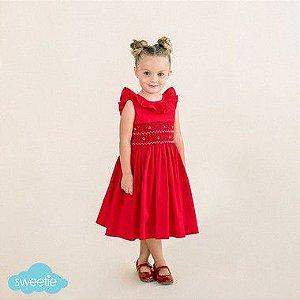 Vestido Bordado Babado Infantil Vermelho DEF