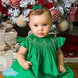 Conjunto Batinha Bordado Bebê Verde